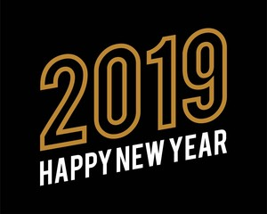 Modern Happy New Year 2019 text design gold colored isolated on black background, vector elements for calendar and greeting card.