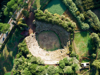 the ruins of a Roman Amphitheater in Sturi Tuscany