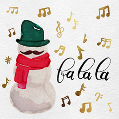 Watercolor Glitter Hipster Singing Snowman with Mustache & Scarf with Music Notes: Red, Green, Gold