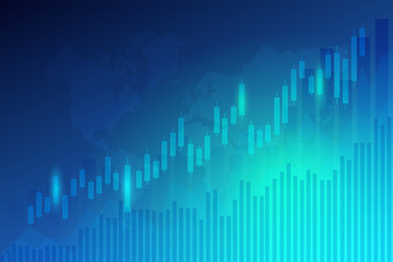 Business candle stick graph chart of stock market investment trading on blue background.Bullish point, Trend of graph. Eps10 Vector illustration.