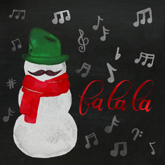 Watercolor Hipster Singing Snowman with Mustache, Scarf, Music in Red, Green & Chalkboard Background
