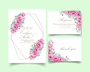 floral wedding invitation with poppy flower and eucalyptus