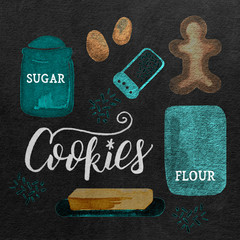 Watercolor Christmas Holiday Gingerbread Cookie Baking Ingredients: Teal, Chalkboard Background