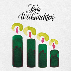 Watercolor Painted Christmas Holiday Advent Candles & Lettered German Greeting in Red, Pink, Gold