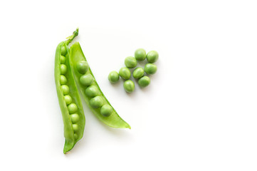 Isolated green pods. Sweet green pea. Top view. White background.