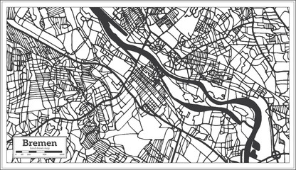 Bremen Germany City Map in Retro Style. Outline Map.