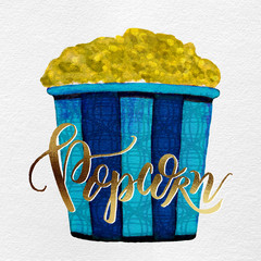 Watercolor Painted Textured Christmas Holiday Movie Popcorn Bucket: Aqua, Royal Blue, Metallic Gold