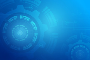 Bright blue gear wheel on circuit board, Hi-tech digital technology and engineering, digital telecoms technology concept, Abstract futuristic- technology on blue color background.Eps10 Vector.
