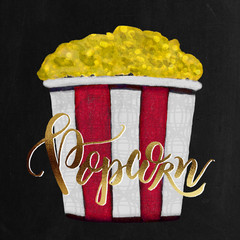Watercolor Painted Textured Christmas Holiday Movie Popcorn Bucket in White, Red, Chalkboard, Gold