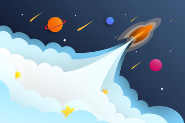 Rocket luanch to universe with cloud and star elements.Vector space illustration.EPS10 Vector.
