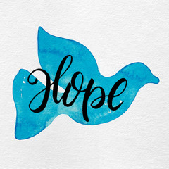 Gouache Painted Simple Holiday Peaceful Dove Silhouette with Hope Lettering in Light Sky Blue