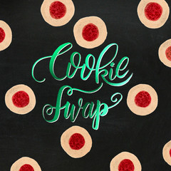 Watercolor Painted Holiday Cookie Baking Swap Jam Cookies: Red & Metallic Green on Chalkboard. Great for invitations, prints, crafting, home decor, office products, stationery, Christmas, winter.