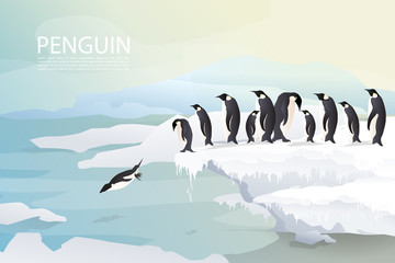 Penguins and family/friends group on ice are jumping joyfully with ice mountain background and sunset in winter. Group of penguin design.EPS10 Vector. - Vector