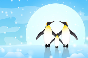 Two birds are holding hands and looking at each other on the ice with the big moon behind. Vector illustration.