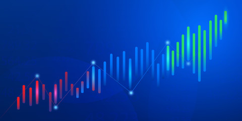 Business candle stick graph chart of stock market investment trading on blue background.Bullish point, Trend of graph. Eps10 Vector illustration. - Vector
