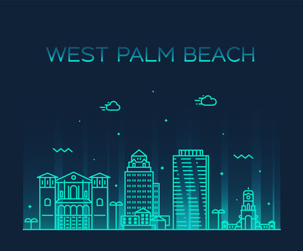 West Palm Beach skyline Florida USA vector linear