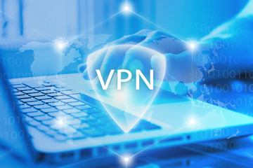 VPN secure access to Internet. Virtual Private network protocol. Cyber security and privacy connection technology. Anonymous access by user to web.