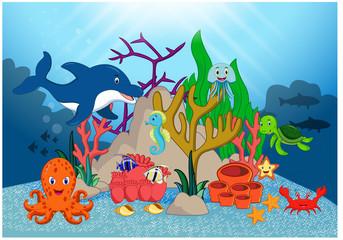 Poster Submarine Beautiful Underwater World Cartoon