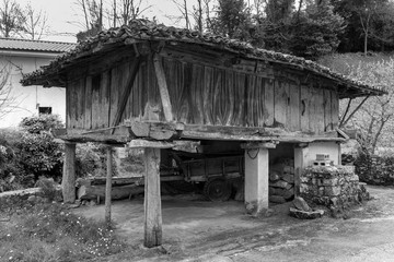 Horreo asturiano. Asturian barn. Popular architecture in Rales. Asturias. Spain.