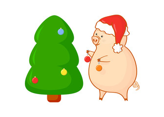Cute pig in santa's hat with holiday tree.Cartoon piggy with Christmas tree and christmas balls. Isolated. It can be an element for design, vector illustration, banner, paper, background, wrap, fabric