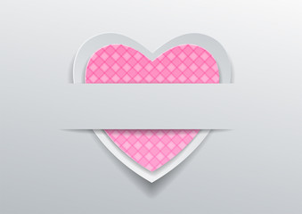 Heart with pink pattern on gray background