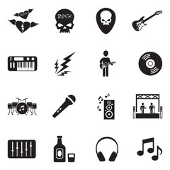 Rock Music Icons. Black Flat Design. Vector Illustration.