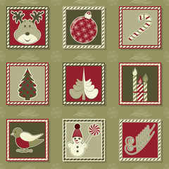 Set of vector christmas illustrations. Can be used as Christmas cards, invitation, flyer