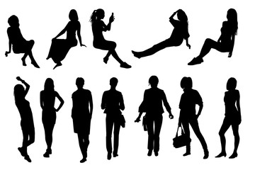 Silhouettes of girls and women in different poses, vector.