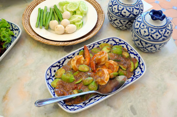 Stir fried shrimp paste with spicy southern Thai