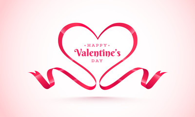 Happy Valentine's Day background with ribbon made by heartshape.