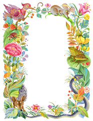 Frame of flowers and funny animals isolated. Perfect for  children greeting and invitation card