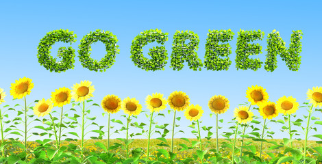 go green 3D illustration