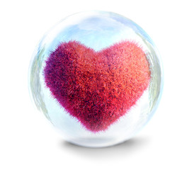 fragile heart in glass bubble 3D illustration