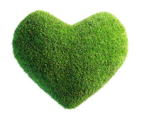 green leaves in heart shape isolated 3D illustration