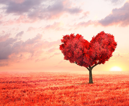 fantasy landscape with red tree in shape of heart