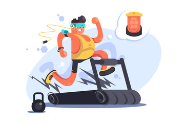 Cartoon boy running on treadmill