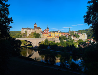 Panoramic view on Loket Castle (Hrad Loket, Burg Elbogen),  gothic style castle on a massive rock against blue sky, surrounded on three sides by the Ohře river near to Karlovy vary, Czech Republic.