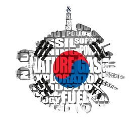 Circle with energy relative silhouettes. Tags cloud of natural gas industry. Objects located around the circle. Flag of the South Korea. 3D rendering