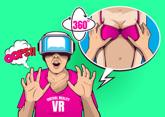 VR virtual reality technology, glasses and headset , pop art vector illustration.
