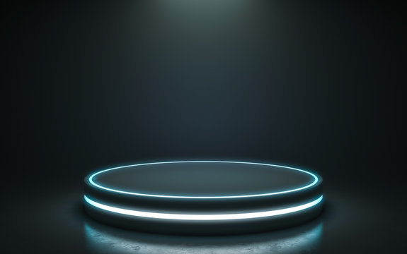 Futuristic pedestal for display. Blank podium for product. 3d rendering