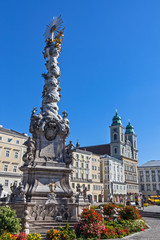 Trinity column on Hauptplatz in Linz