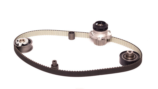 The set of automobile rollers of the gas distribution system of the car, cooling pump and belt, industry