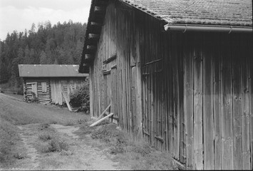 Old log huts for animal shelters in the Swiss Alps, with analogue photgraphy - 3