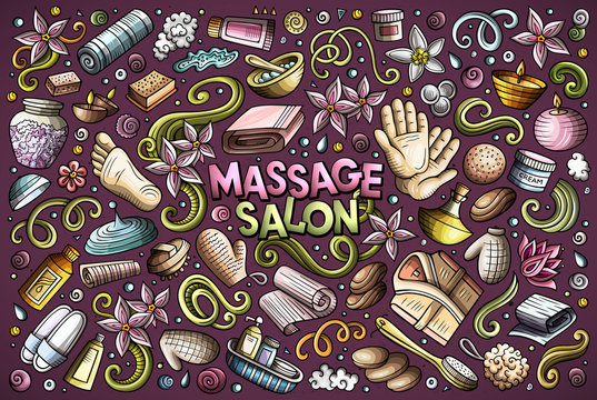 Vector set of Massage and Spa objects