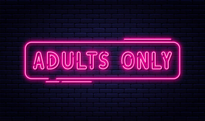 Fototapeta Neon sign, adults only, 18 plus, sex and xxx. Restricted content, erotic video concept banner, billboard or signboard obraz