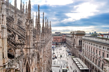 Milan cityscape from top of Milan Cathedral, Italy