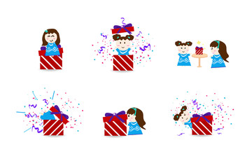 Cute kids with celebration day, surprise collection party set, confetti festival friendship cartoon character concept background vector illustration