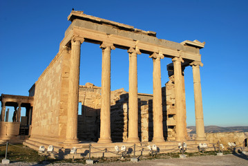 The Erechtheion temple on a bright day