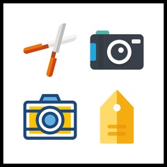 4 hobby icon. Vector illustration hobby set. pruners and photo camera icons for hobby works