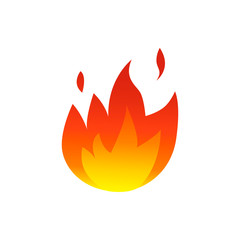 Flame fire icon. Vector illustration on white background.